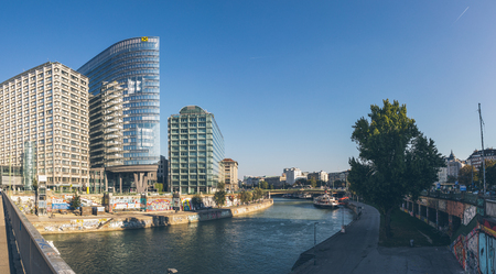 Vienna, Austria - September 30, 2017: Wide angle view of the Danube canal in Vienna city center.