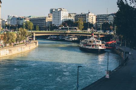 Vienna, Austria - September 30, 2017: The Danube canal in Vienna city center.