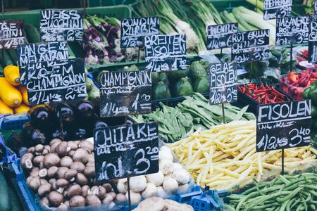Appetizing market stalls in Viennas famous Naschmarkt. Stock Photo