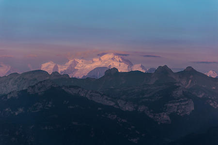 Last rays of sun on the Mont Blanc mountain.