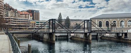 The dam on the Rhone river, in Geneva city center. Stock Photo