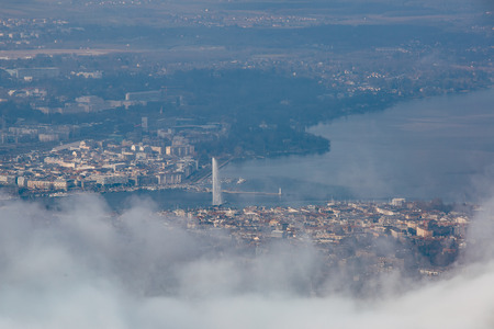 Aeria view of the city of Geneva on a foggy winter day. Stock Photo
