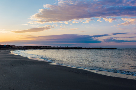 Southern France beach on the mediterranean sea at dawn.