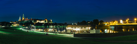 Panoramic night view of the Wawel castle in Krakow, Poland. Stock Photo