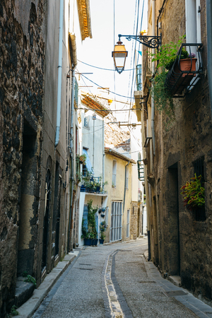 Narrow streets of the ancient town of Agde, southern France.