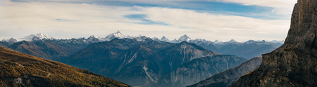 Panoramic view of the Swiss alps from the Gemmipass.