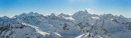 Panorama of the Weisshorn and surrounding mountains in the swiss alps. Stock Photo