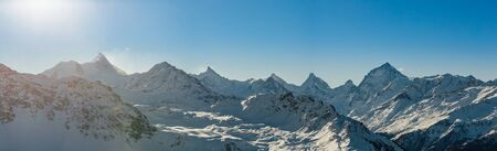 Panoramic view of some of Switzerland's highest mountains (Dent Blanche, Matterhorn, Weisshorn, Bishorn).