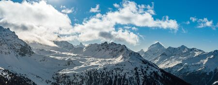 Panoramic view of swiss alps during winter time. Stock Photo