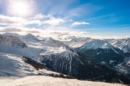 Panorama of the snow covered mountains of the Val D'anniviers, Valais, Switzerland.