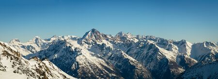 Panorama of the Bietschhorn (3'934m) and surrounding mountains in the swiss alps.