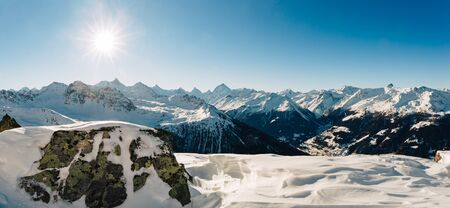 Panorama of the alps in the Swiss valley of Val d'Anniviers, canton of Valais. Stock Photo