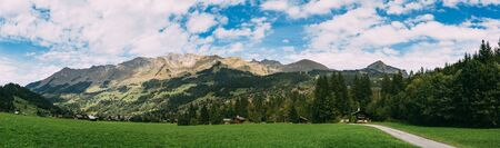Panoramic view of the swiss mountain village of Les Diablerets. Stock Photo