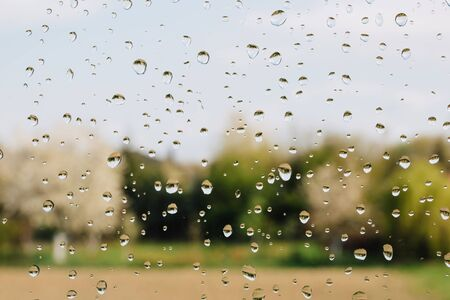 Rain drops on window against field and forest. Stock Photo