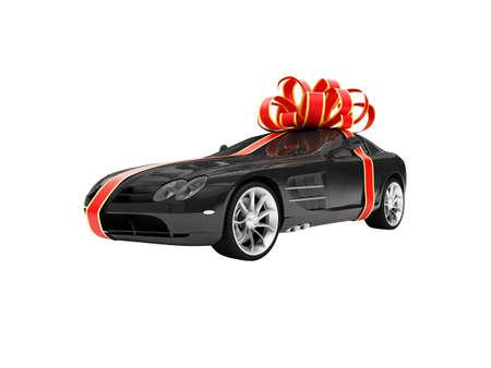 aislados regalo coche sobre un fondo blanco