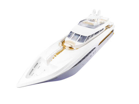luxury yacht: isolated big yacht on white background