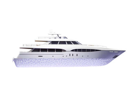 isolated big yacht on white background photo