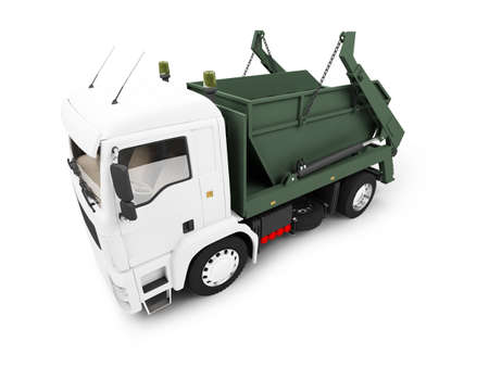 worksite: isolated trash dump car on white background