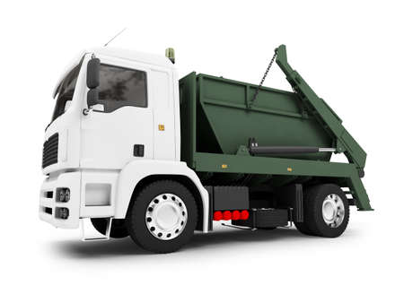 utilize: isolated trash dump car on white background