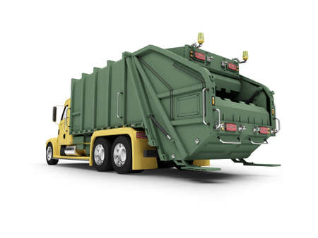 isolated trash dump car on white background photo