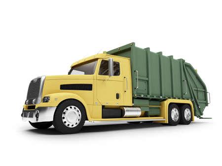 basura: aislados basural coche en fondo blanco  Foto de archivo