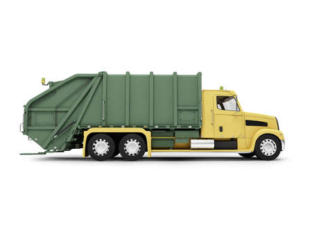 in the dumps: isolated trash dump car on white background