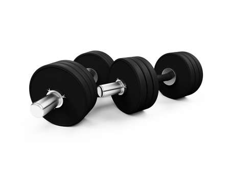 isolated dumbbells on white background Stock Photo - 2377431