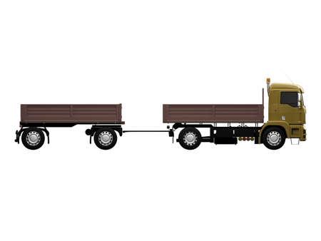 dumptruck: isolated long dump truck on white background