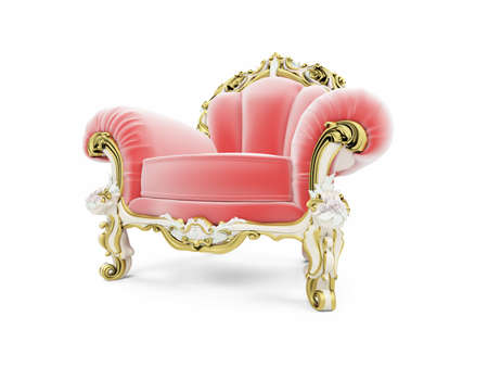 isolated red royal velvet armchair  Stock Photo
