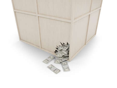 unclosed: wood box view with money on white background Stock Photo