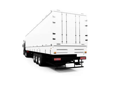 semitrailer: isolated semi truck against white