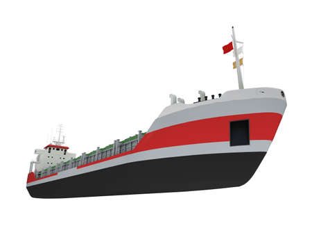 water carrier: isolated cargo ship over white
