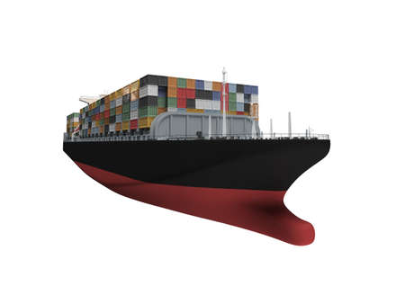 water carrier: isolated container ship over white