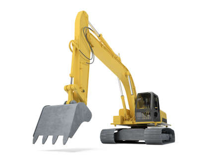 isolated excavator over white