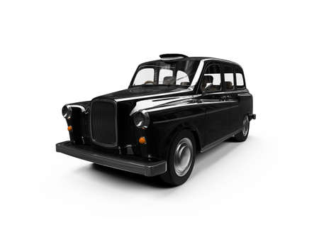 black cab: isolated black taxi on white background