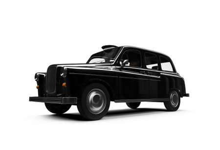 isolated black taxi on white background