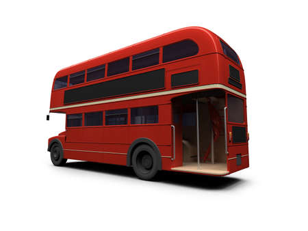 isolated red autobus on white  Stock Photo - 3615213