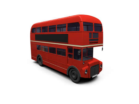 omnibus: isolated red autobus on white