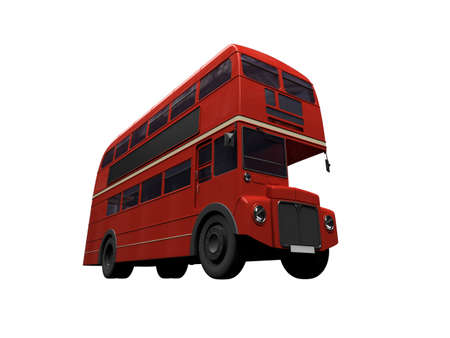 isolated red autobus on white Stock Photo - 3615215