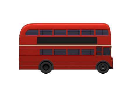 double decker: isolated red autobus on white background