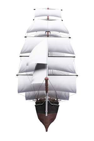 frigate: isolated classic boat on white background