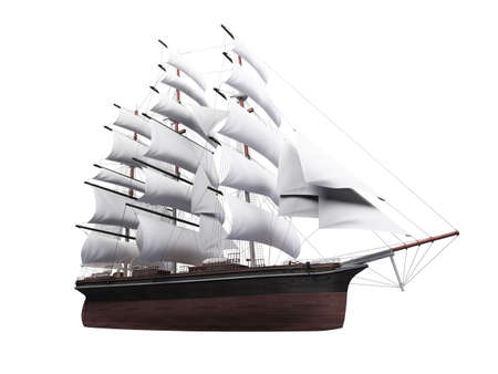 3d boat: isolated classic boat on white background