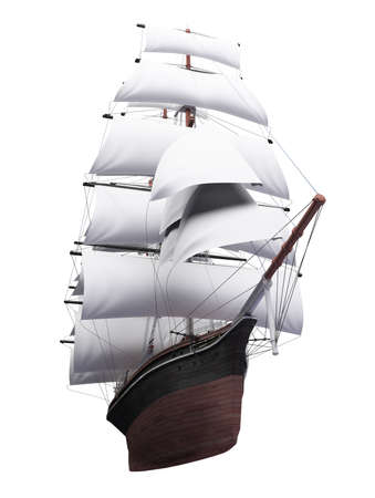 isolated classic boat on white background