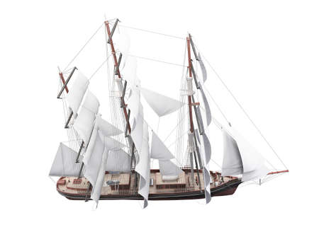 sailer: isolated classic boat on white background