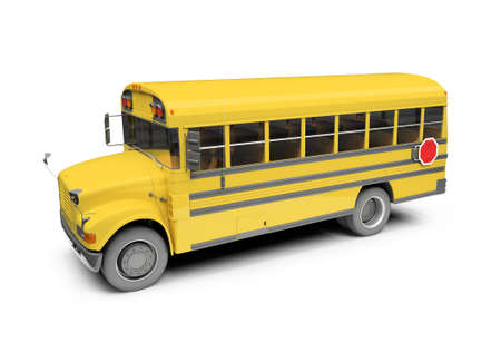 autobus: isolated school bus on white background