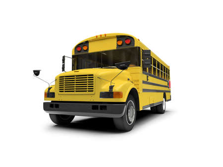 schooltime: isolated school bus on white background