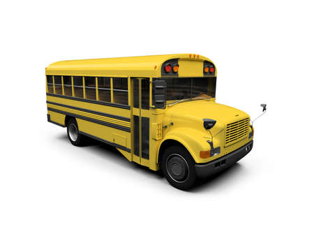 schooltime: isolated school bus on white