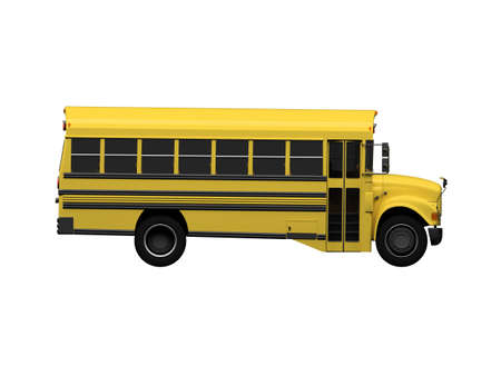 isolated school bus on white