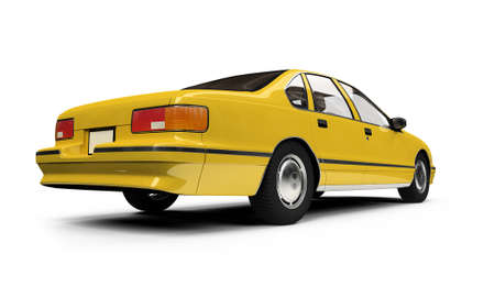new cab: isolated yellow car on a white