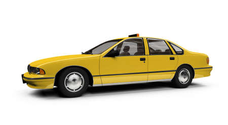 isolated yellow car on a white background